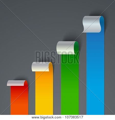 Infographics curled colorful paper stripe banners chart on gray background