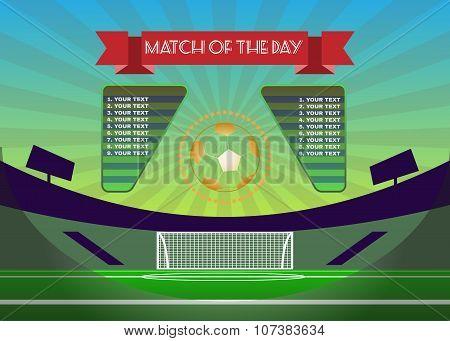 Soccer Match Scoreboard Above Playfield