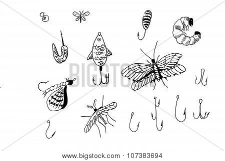 bait for fishing and hooks, jig, bait species, hand-drawn illustration