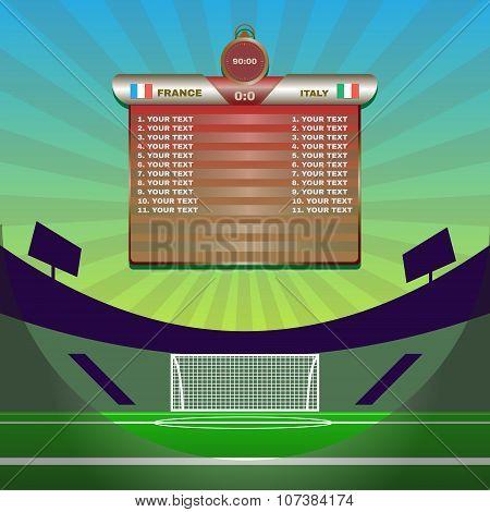 Soccer Match Statistics Above Gamefield