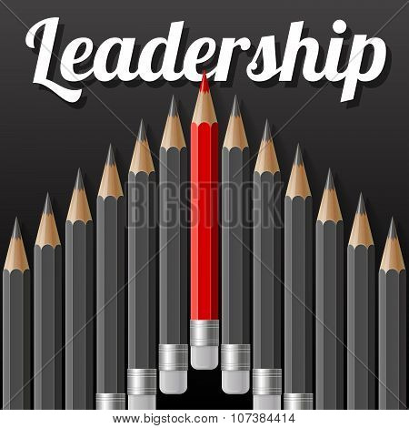Arrow shape of dark grey pencils with one outstanding red pencil and lettering text LEADERSHIP on bl
