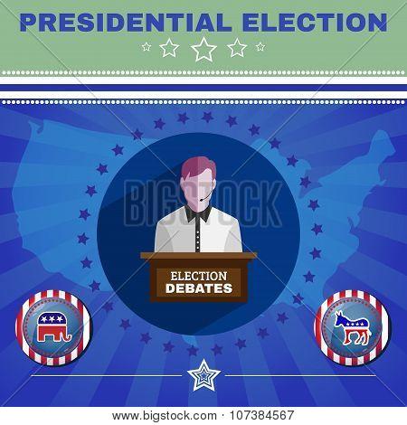 Election Debates Campaign Ad Banner. Social Promotion Banner. Elephant versus Donkey. American Flag's Symbolic Elements - Stripes and Stars. Digital vector illustration poster