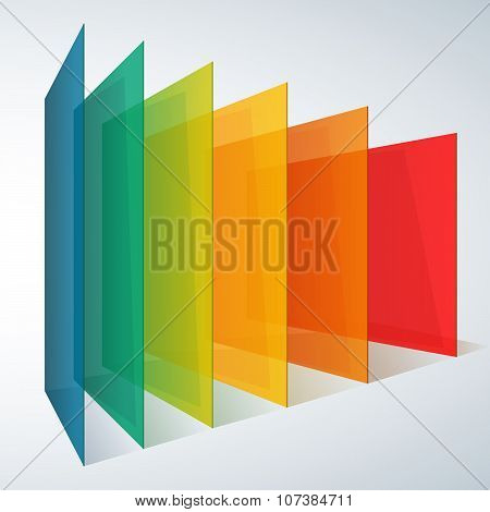 Perspective rainbow abstract rectangles on white background