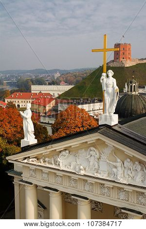 Panorama Of Cathedral Of Vilnius And Gediminas Castle