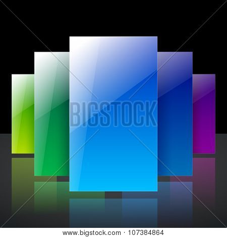 Abstract infographic colorful blue, yellow and green shiny transparent rectangles with reflections o