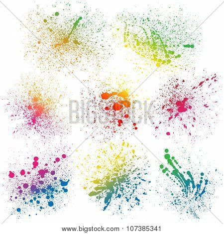 Set of 8 isolated colorful gradient rainbow grunge paint splashes on white background