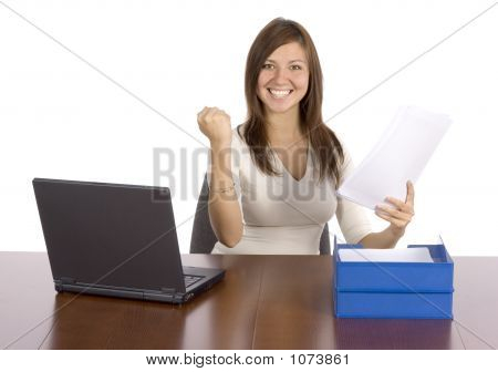 isolated happy businesswoman holding the financial report poster