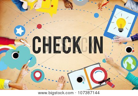 Check in Location Navigation Position Place Concept