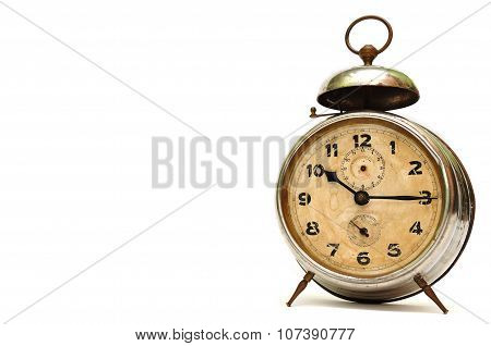 Old Alarm Clock Isolated Over White