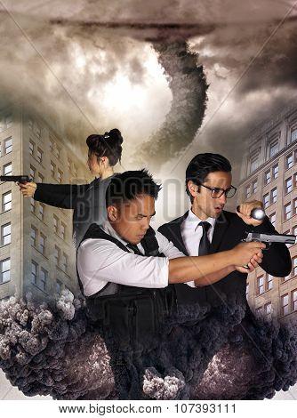 alien invasion - destruction of a city