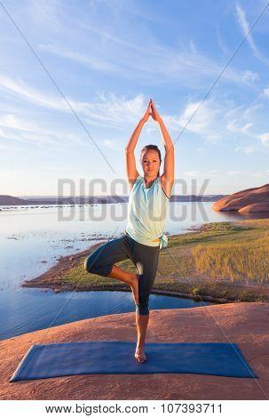 Desert Lake Yoga And Girl