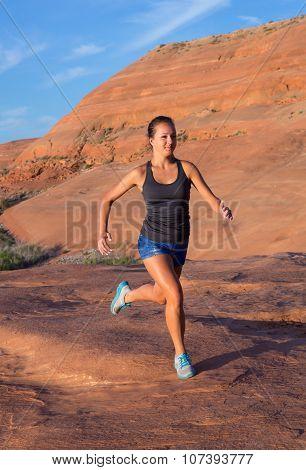 Girl On Desert Sunrise Run