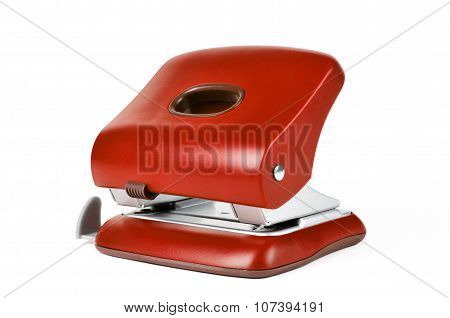 Red Office Paper Hole Puncher Isolated On White