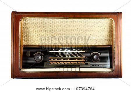 Old, Retro, Vintage Radio, Isolated On White