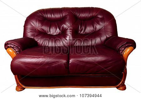 Two Seater Sofa Isolated On White, With Clipping Path