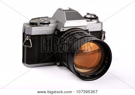 Old, Retro, Vintage  Camera Isolated Over White With Clipping Path