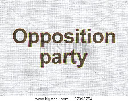 Political concept: CMYK Opposition Party on linen fabric texture background poster