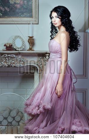 Girl In A Magnificent Pink Dress.