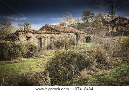 abandoned village with rustic stone houses