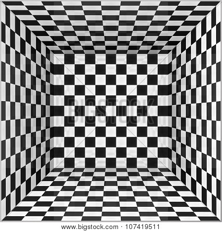 Black and white chessboard walls room background