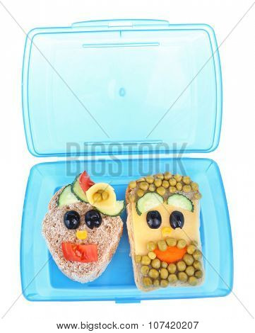 Creative sandwiches in lunchbox isolated on white background