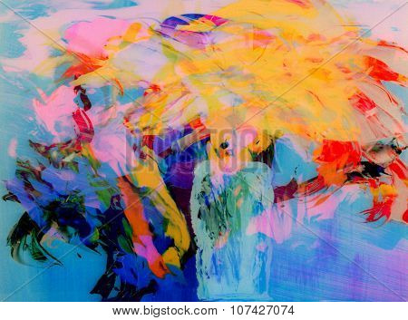 Nice Image of a Abstract painting On Glass