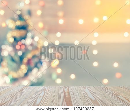 Sparkle Bokeh Of Christmas Tree, Template Mock Up For Display Of Your Product For Christmas Backgrou