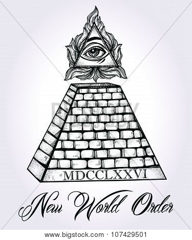 All seeing eye pyramid symbol.