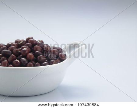 red bean or adzuki beans in a saucer