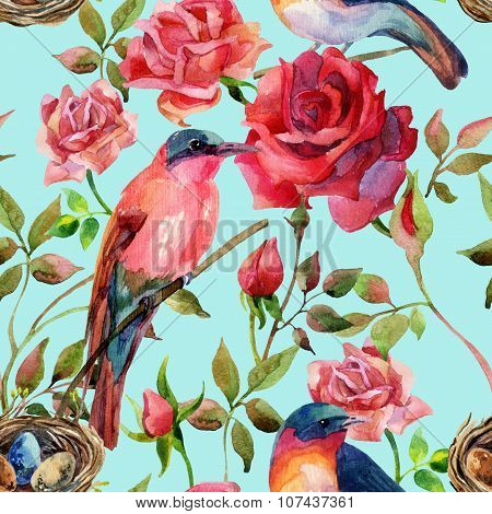 Watercolor Birds On The Pink And Red Roses