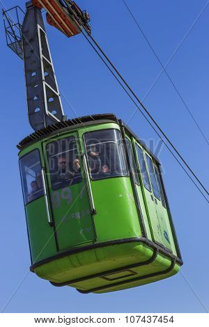 Overhead Green Cable Car Cabin