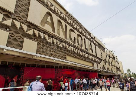 MILAN, ITALY - JUNE 1, 2015: Unidentified people by the Angola Pavilion at EXPO 2015 in Milan Italy. EXPO 2015 took place from 1 May to 31 October 2015.