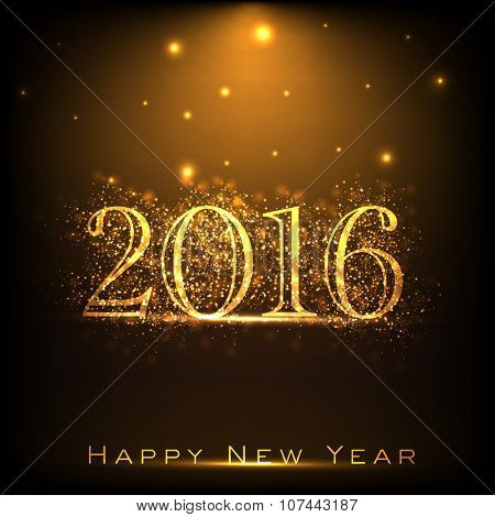 Elegant greeting card with creative golden text 2016 on shiny brown background for Happy New Year celebration.