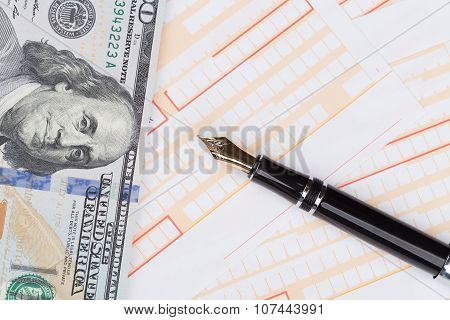 Fountain Pen On Empty Remittance Slip