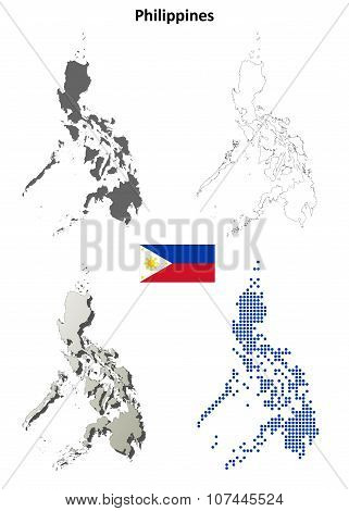 Philippines outline map set