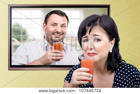 Woman is being made to drink a diet smoothie