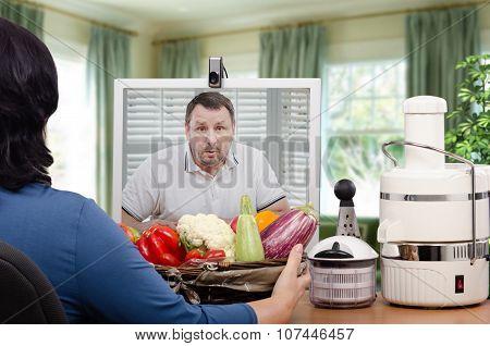 Surprised man looking at vegetables