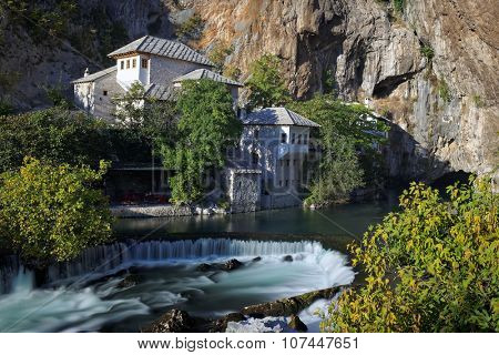 Bosnia and Herzegovina near Mostar Blagaj Dervish monastery built in the 16th century right at the Buna river source poster