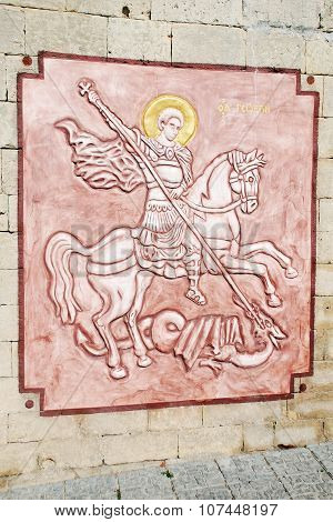 Icon relief of St. George in the Orthodox St. George Monastery