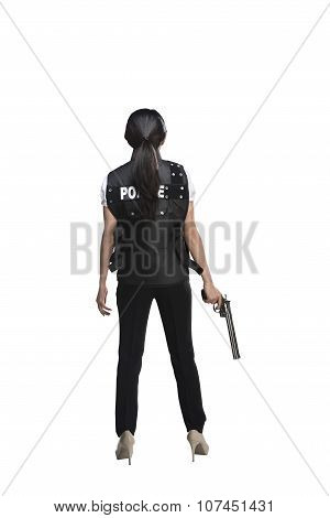 Back View Of Woman Holding Gun