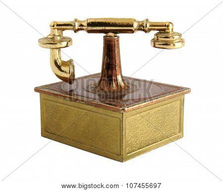 Brass Miniature Of Vintage Telephone