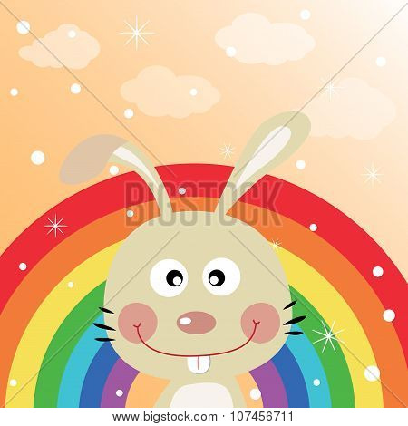 Rabbit in the sky with rainbow