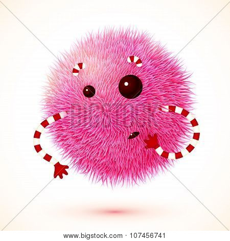 Cute pink fluffy ball vector monster with hands poster