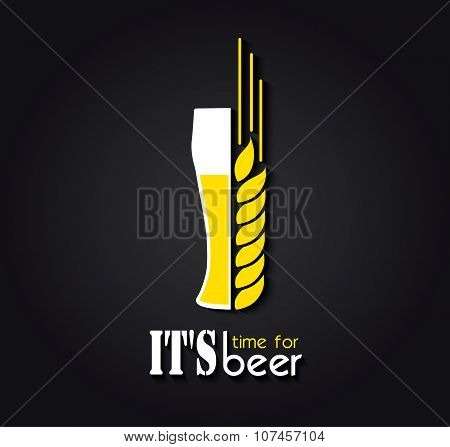 Creative Design Emblem It's Time For Beer. Vector Illustration