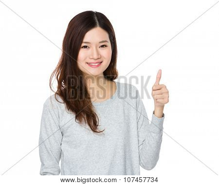 Asian Young Woman showing thumb up