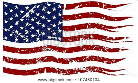 A ripped and torn American flag with a grunge filter isolated on a white background poster