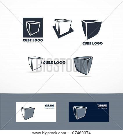 Blue Cube Logo Icon Set