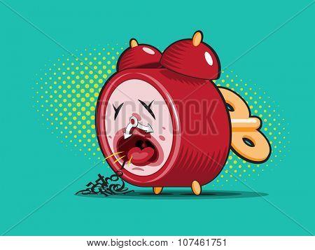 red sick alarm clock spews his digits. Healthcare concept vector illustration