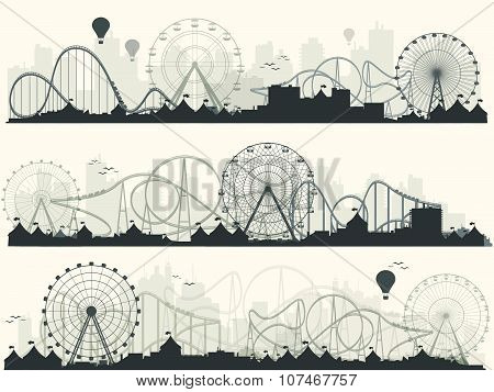 Vector illustration. Ferris wheel. Carnival. Funfair background. Circus park.  Skyscrapers with roller coast. poster
