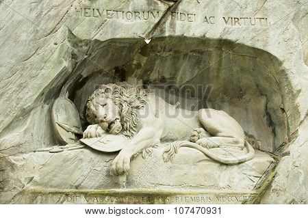 View to the Dying Lion monument in Lucerne, Switzerland.